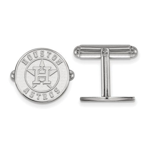 Rhodium-Plated Sterling Silver MLB Houston Astros Round Cuff Links,15MM