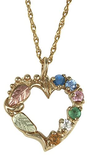 Sapphire, Aquamarine, Pink Tourmaline, Emerald, White Topaz, Citrine Heart Pendant Necklace, 10k Yellow Gold, 12k Green and Rose Gold Black Hills Gold Motif, 18""