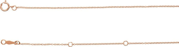 14k Rose Gold 1mm Solid Cable Chain Necklace, 16-18""