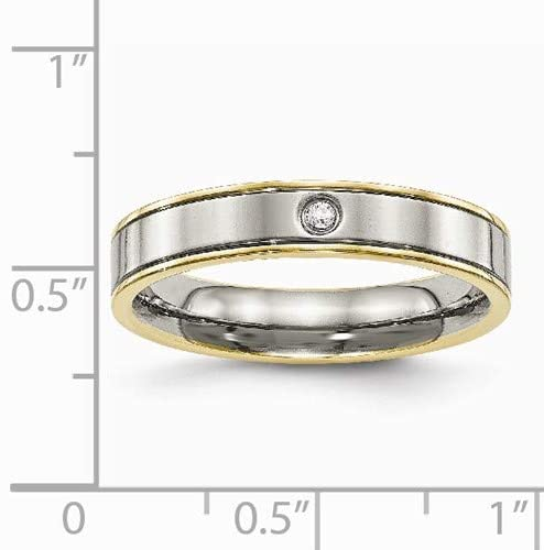Titanium, Yellow IP Edged Gypsy-Set CZ 5mm Flat Comfort-Fit Band