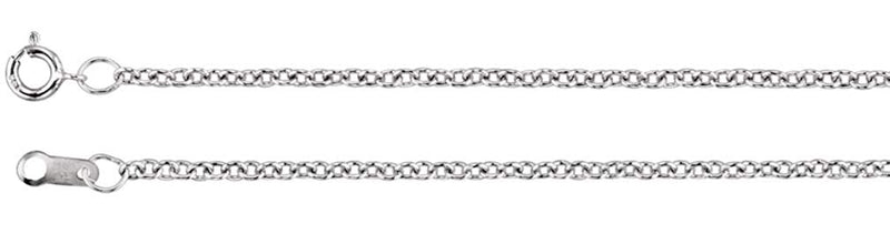 Platinum 1.5mm Solid Cable Chain, 16""