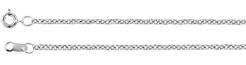 1.5mm 14k White Gold Solid Cable Chain, 16""