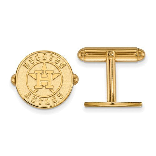Gold-Plated Sterling Silver MLB Houston Astros Round Cuff Links, 15MM
