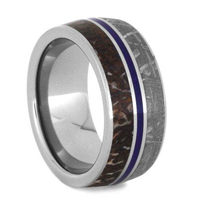 Gibeon Meteorite, Dinosaur Bone, Blue Stripe 9mm Comfort-Fit Titanium Band and Sizing Ring, Size 10.25
