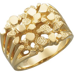 10kt Yellow Gold Mens Nugget Ring, Size 18.5