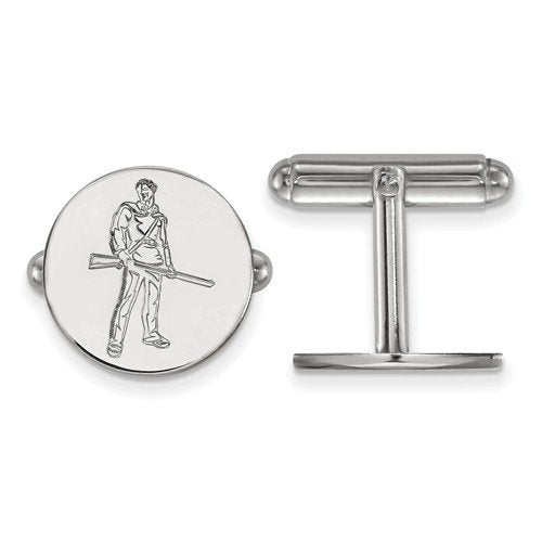 Rhodium-Plated Sterling Silver West Virginia University Round Cuff Links, 15MM
