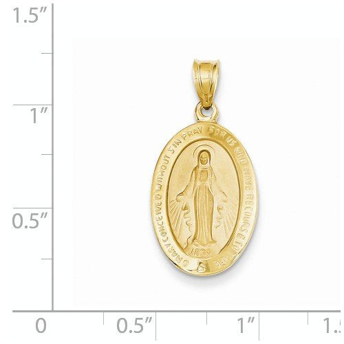 14k Yellow Gold Miraculous Medal Charm Pendant (27X14 MM)
