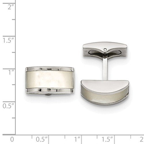 Stainless Steel Cat's Eye Rectangle Cuff Links, 19X11MM