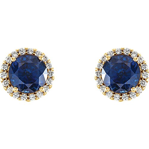 Chatham Created Blue Sapphire and Diamond Earrings, 14k Yellow Gold (0.125 Ctw, G-H Color, I1 Clarity)