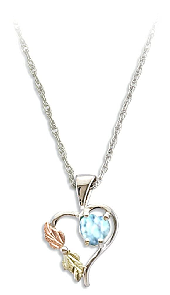 Synthetic Aquamarine March Birthstone Heart Pendant Necklace, Sterling Silver, 12k Green and Rose Gold Black Hills Gold Motif, 18""