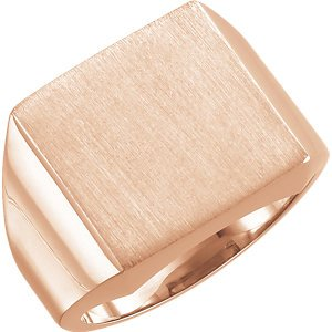 Men's Brushed Signet Semi-Polished 14k Rose Gold Ring (14mm) Size 6