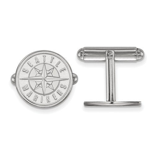 Rhodium-Plated Sterling Silver, MLB Seattle Mariners Cuff Links, 15MM