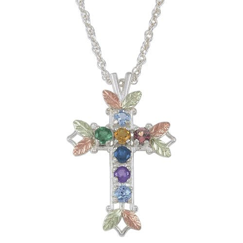 Aquamarine, Citrine, Garnet, Amethyst, Sapphire, Emerald and Blue Sky Topaz Pointed Cross Pendant Necklace, Sterling Silver, 12k Green and Rose Gold Black Hills Gold Motif, 18""