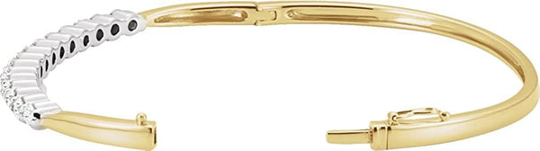 "Two-Tone Diamond Bangle Bracelet, 14k Yellow and White Gold, 7"" (2 1/8 Ctw, GH Color, I1 Clarity)"