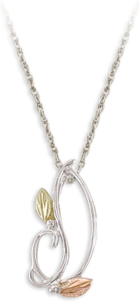 Freeform Leaf Pendant Necklace, Sterling Silver, 12k Green and Rose Gold Black Hills Gold Motif, 18""
