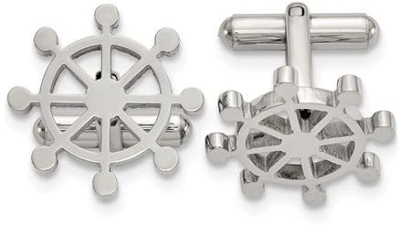Stainless Steel Ship's Wheel Cuff Links, 20.2MMX20.2MM
