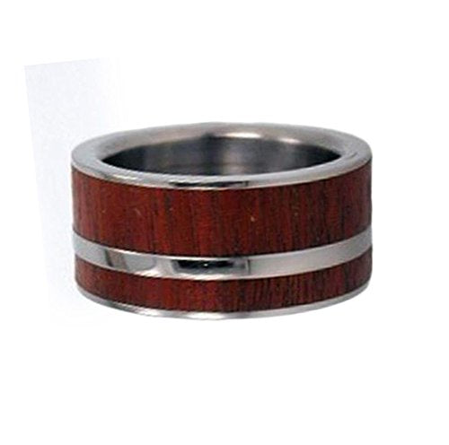 Peruvian Ipe Inlay 8mm Comfort-Fit Titanium Interchangeable Wedding Ring