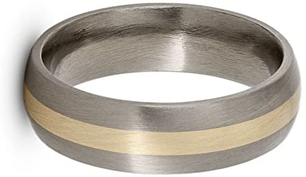Satin Brushed Titanium, 14k Yellow Gold Inlay 5mm Comfort-Fit Dome Wedding Band, Size 14