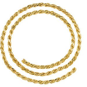 3.9mm 14k Yellow Gold Diamond Cut Rope Chain Bracelet, 7""