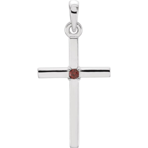 Mozambique Garnet Inset Cross Rhodium-Plated 14k White Pendant (22.65x11.4MM)