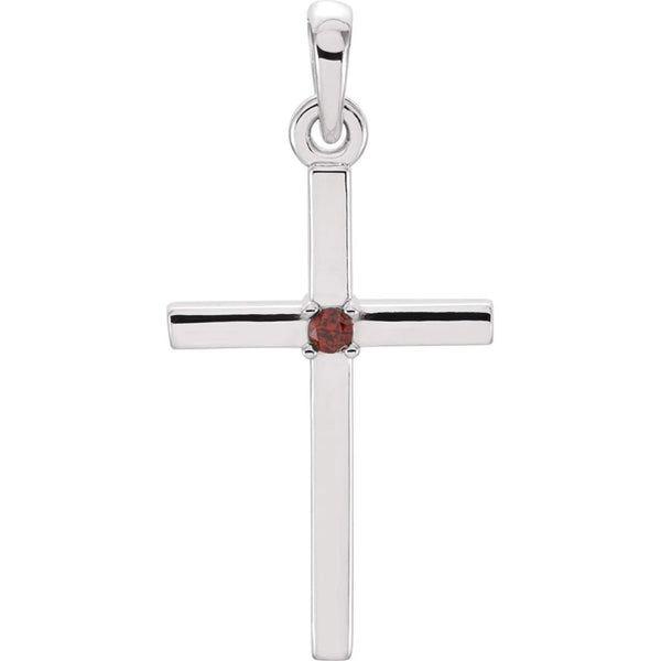 Platinum Mozambique Garnet Inset Cross Pendant (22.65x11.4MM)