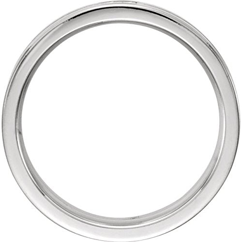 Satin Finish Grooved 6MM Comfort Fit 14k White Gold,Size 12.5