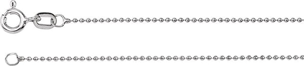 1mm 14k White Gold Solid Bead Chain Bracelet, 7""