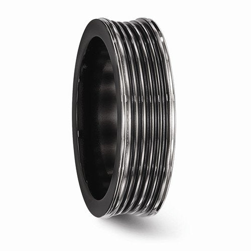 Edward Mirell Black Titanium Grooved Concave 7mm Wedding Band