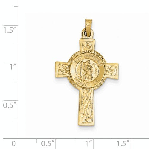 14k Yellow Gold St. Christopher Medal Pendant (37X21MM)