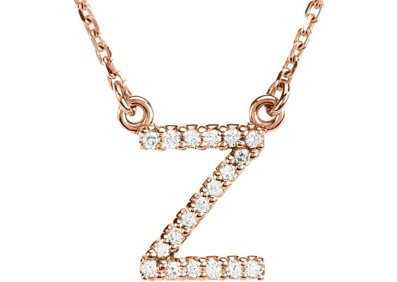 "14k Rose Gold Diamond Initial 'Z' 1/10 Cttw Necklace, 16"" (GH Color, I1 Clarity)"