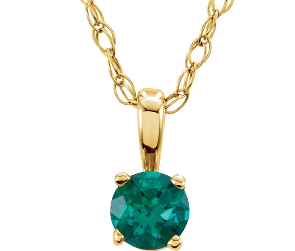 Children's Emerald 'May' Birthstone 14k Yellow Gold Pendant Necklace, 14""
