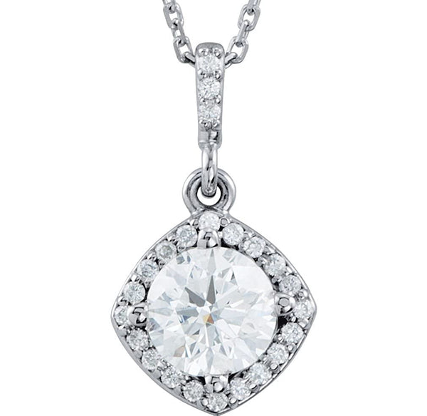 "Diamond Halo Pendant Necklace, Rhodium Plate 14k White Gold, 18"" (7/8 Cttw)"