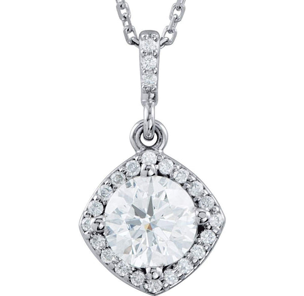 "Diamond Halo Pendant Necklace, Rhodium Plate 14k White Gold, 18"" (3/8 Cttw)"