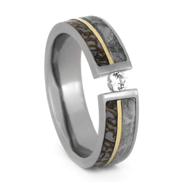Tension Set Diamond, Gibeon Meteorite, Dinosaur Bone, 14k Yellow Gold 8mm Comfort-Fit Titanium Band