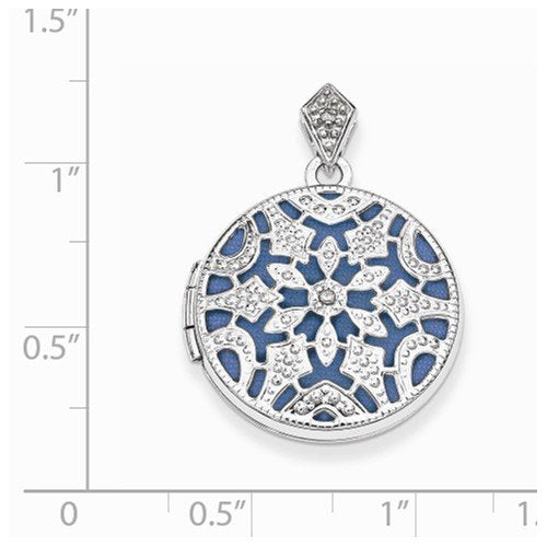 Rhodium-Plated Sterling Silver and Blue Vintage-Style Round Locket Pendant (20MM)