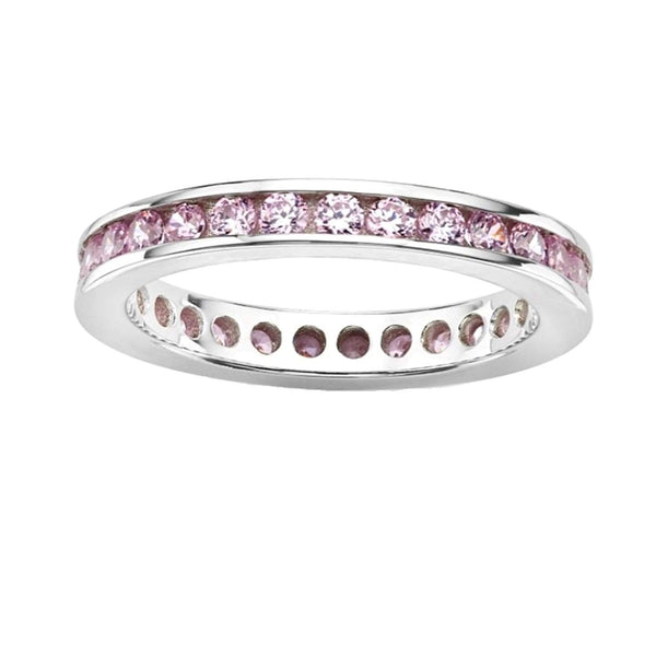 Pink CZ Mirror Polished Rhodium Plated Sterling Silver Eternity Ring
