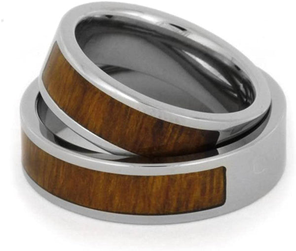 Inlaid Ironwood Comfort-Fit His and Hers Titanium Wedding Band Set, M11-F6.5