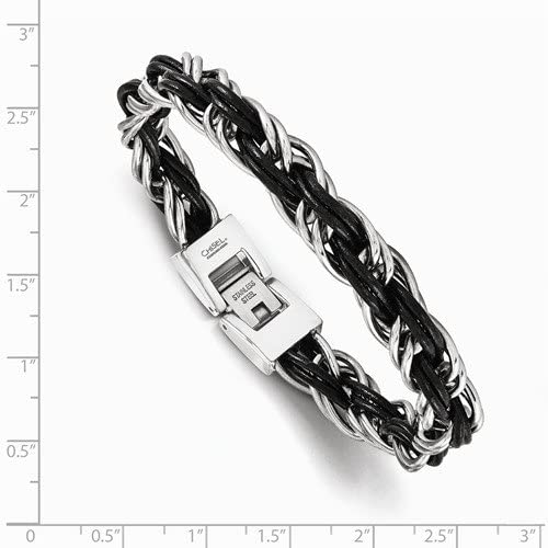 Men's Genuine Leather Braided Stainless Steel Bracelet, 8.25 Inches