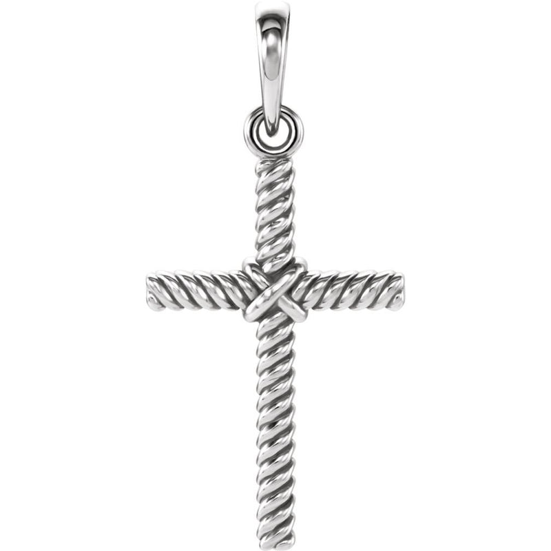 Rope Cross Rhodium-Plated 14k White Gold Pendant (17.5X11.3 MM)