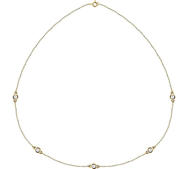 "Diamond Solitaire 14k Yellow Gold Pendant Necklace, 18"" (1 Cttw)"