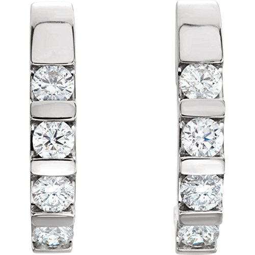Platinum Channel Set Diamond J-Hoop Earrings (1 Ctw, Color G-H, Clarity SI2-SI3)