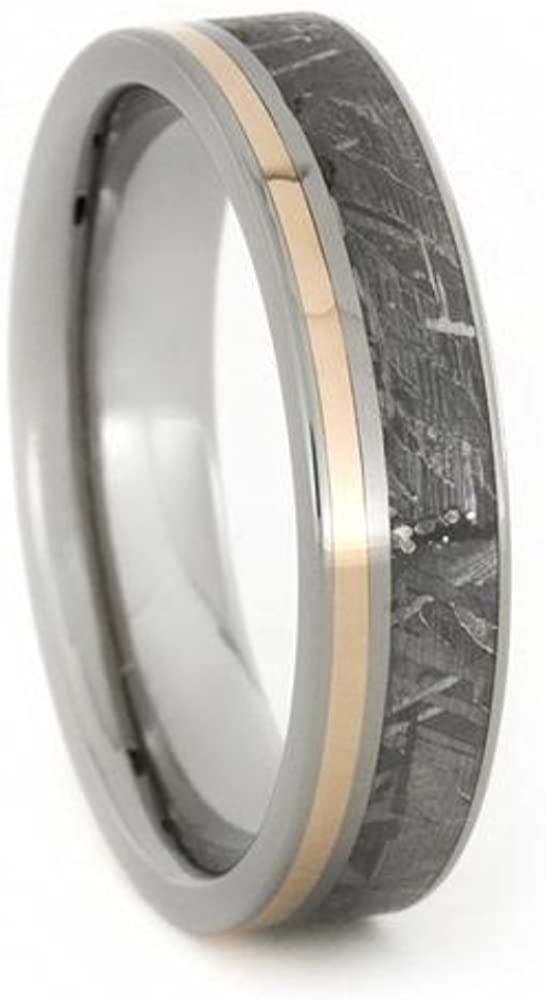 Gibeon Meteorite, 14k Rose Gold Stripe 5.5mm Titanium Comfort-Fit Ring, Size 5
