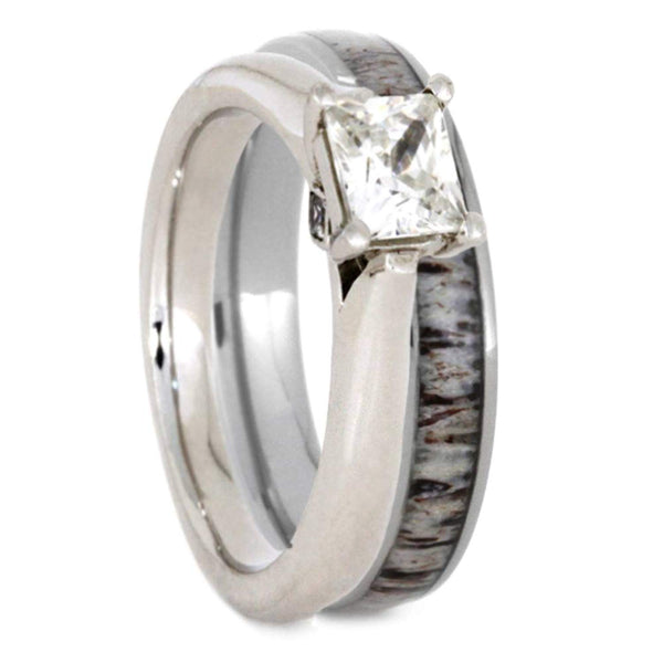 Charles & Colvard Moissanite and Diamond 10k White Gold Engagement Ring, Deer Antler Titanium Wedding Band, Bridal Set