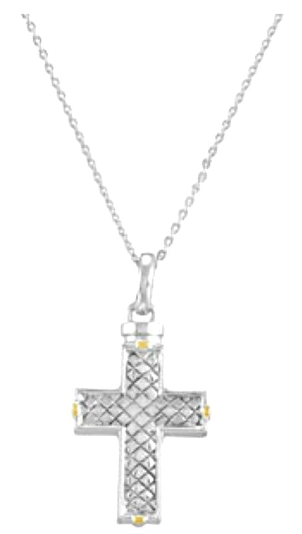 Woven Cross Ash Holder Necklace, Rhodium Plate Sterling Silver, Yellow Gold Plated Accents, 18""