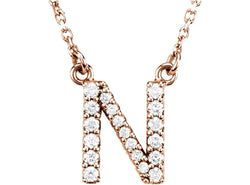 "The Men's Jewelry Store (for HER) 14k Rose Gold Diamond Initial 'N' 1/6 Cttw Necklace, 16"" (GH Color, I1 Clarity)"