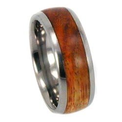 Canary Wood Inlay 8mm Comfort Fit Titanium Wedding Band, Size 12.75