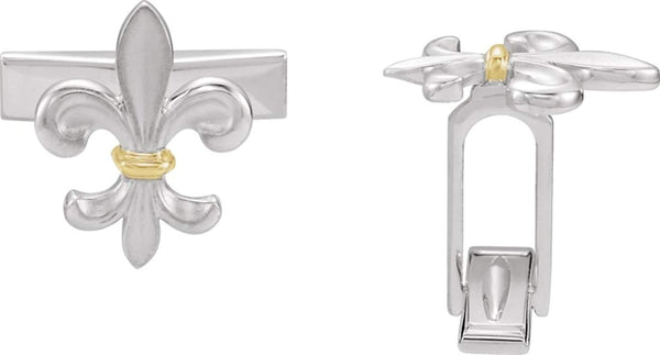 14k Yellow Gold Two Tone Fleur De Lis Cuff Link
