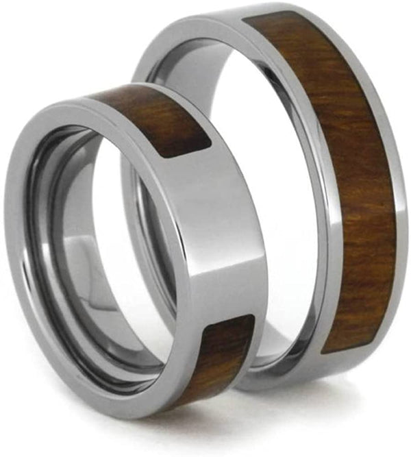 Inlaid Ironwood Comfort-Fit His and Hers Titanium Wedding Band Set, M10-F8.5