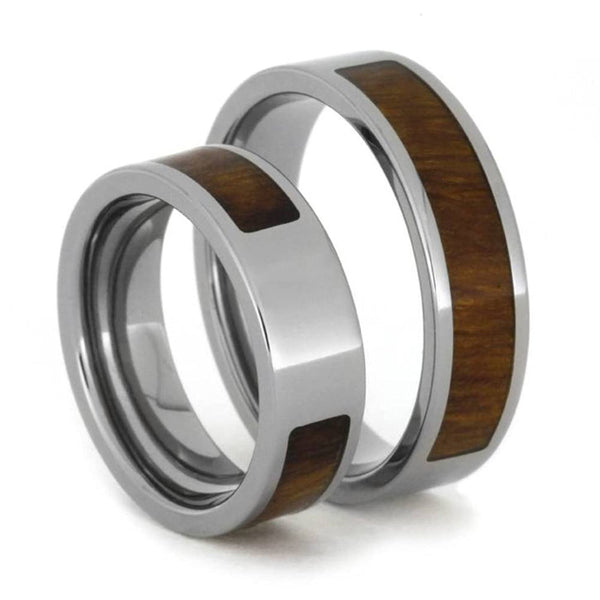 Inlaid Ironwood Comfort-Fit His and Hers Titanium Wedding Band Set, M10-F4