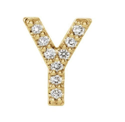 14k Yellow Gold Gold Diamond Letter 'Y' Initial Stud Earring (Single Earring) (.04 Ctw, GH Color, I1 Clarity)